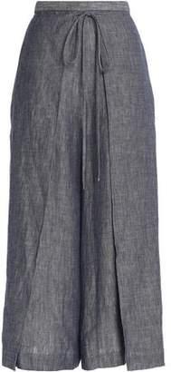 Rosetta Getty Wrap-Effect Linen-Blend Chambray Culottes