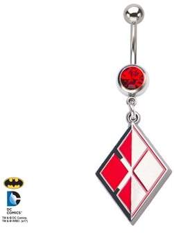 DC ORIGIN-DC COMICS DC Comics Harley Quinn Logo with Red Gem and Stainless Steel Dangle Navel Ring