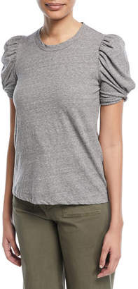 A.L.C. Kati Crewneck Pouf-Sleeve Heathered Cotton Tee