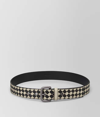 Bottega Veneta CEMENT/NERO INTRECCIATO CHECKER NAPPA BELT