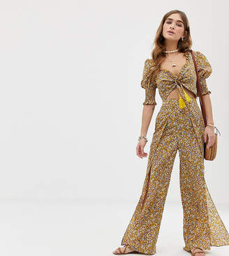 Sisters Of The Tribe Petite high waist trousers with leg split in ditsy floral co-ord