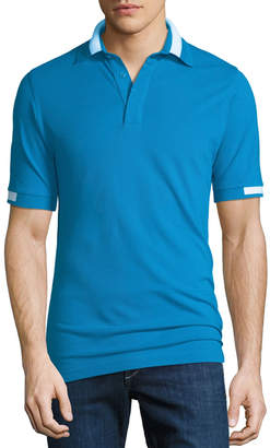 Kiton Men's Pique Knit Cotton Polo Shirt, Aqua Blue