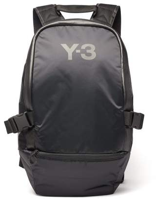Y-3 Y 3 Racer Leather Trimmed Backpack - Mens - Black