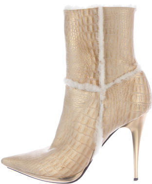 Casadei Shearling Metallic Boots $245 thestylecure.com