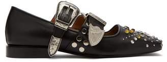 Toga Stud Embellished Buckled Leather Flats - Womens - Black