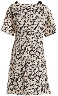 Proenza Schouler Floral Print Cross Over Silk Dress - Womens - Black Pink