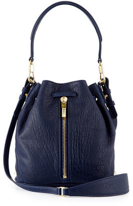Elizabeth and James Cynnie Mini Large-Grain Bucket Bag, Dark Denim $445 thestylecure.com
