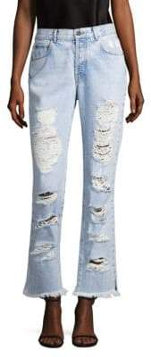 Alice + Olivia AO.LA by Genevive Extreme Distressed Girlfriend Jeans
