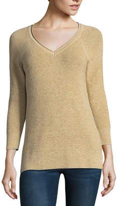 Liz Claiborne 3/4 Sleeve V Neck Metallic Sweater