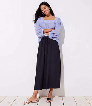 LOFT Petite Slit Drawstring Pocket Maxi Skirt