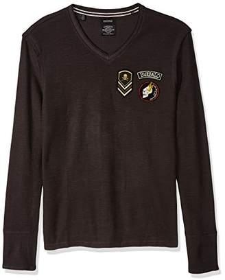 Buffalo David Bitton Men's Kilitary Ls Slub V-Neck Graphic Fashion Knit Shirt