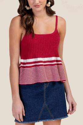 e4c4f2b14e25e francesca s Ellie Striped Swing Tank Top - Red