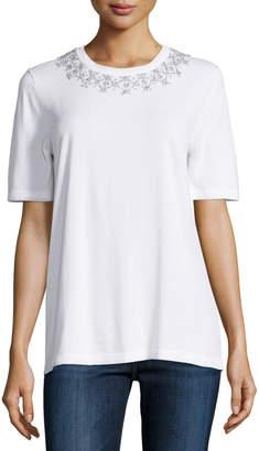 Michael Kors Embellished-Collar Short-Sleeve Tee, White