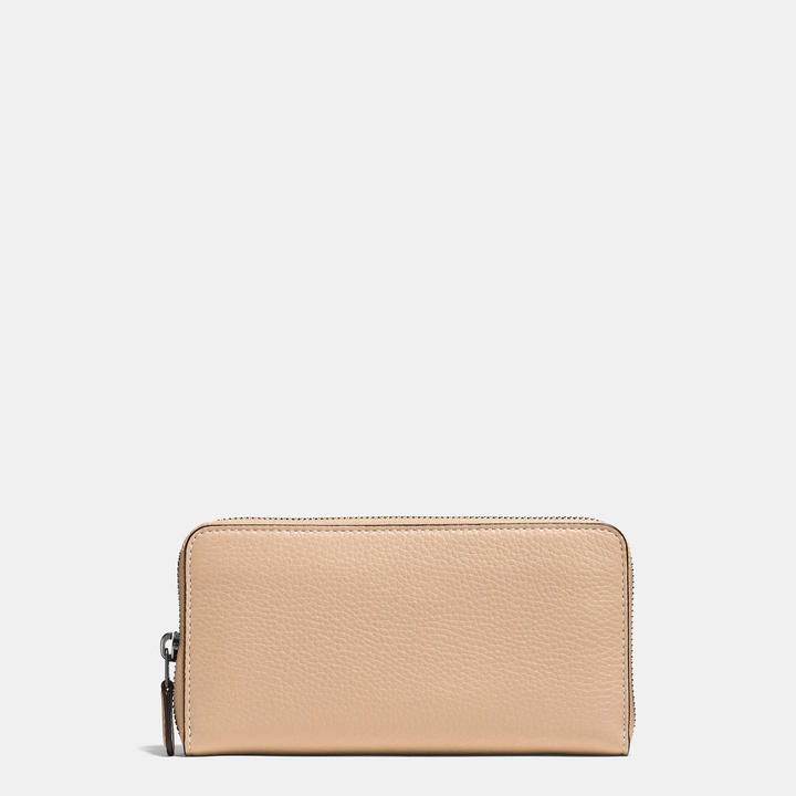 Coach   COACH Coach Accordion Zip Wallet In Glovetanned Pebble Leather
