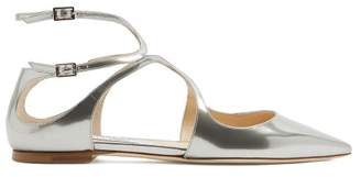 Jimmy Choo Lang Point Toe Leather Flats - Womens - Silver