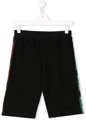 Moschino Kids TEEN logo stripe shorts