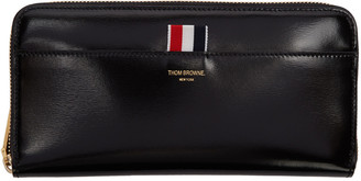 Thom Browne Black Long Zip Around Wallet $895 thestylecure.com