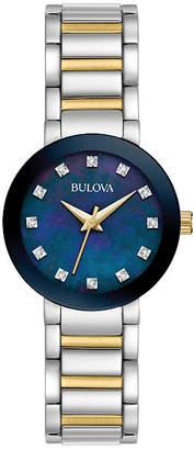 Bulova Womens Two-Tone Blue Dial Diamonds Collection Bracelet Watch 98P157