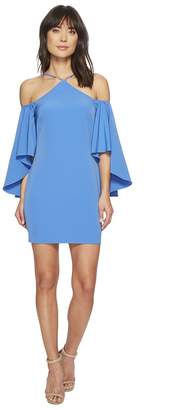 Laundry by Shelli Segal Fitted Cutaway Neckline Dress with Hi-Lo Cold Shoulder Women's Dress