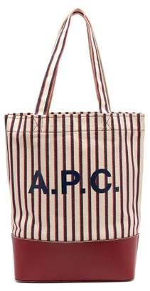 A.P.C. Axelle Striped Canvas And Leather Tote Bag - Womens - Burgundy Multi