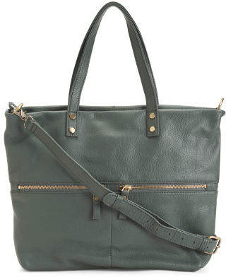 Leather Dual Zip Front Pocket Tote