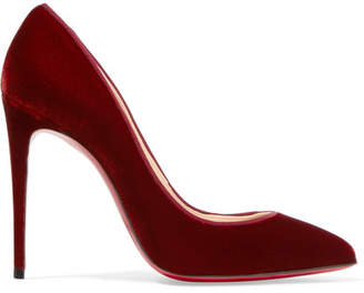 Christian Louboutin Pigalle Follies 100 Velvet Pumps - Burgundy