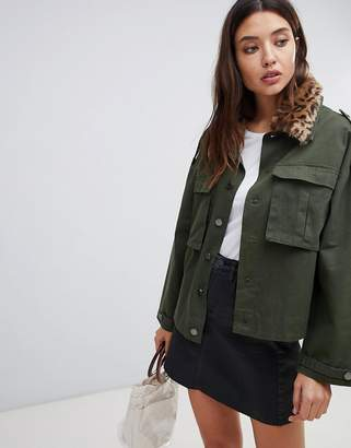 Blank NYC utility jacket with leopard print collar