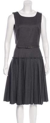 Oscar de la Renta Wool Pleated Dress