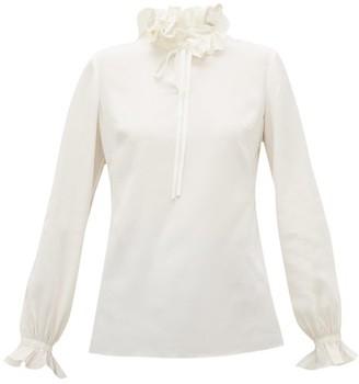 Goat Irving Ruffle Collar Silk Crepe De Chine Blouse - Womens - Ivory