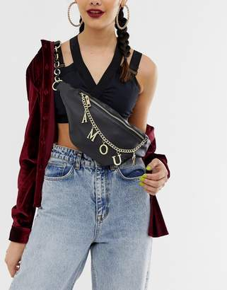 Charm & Chain ASOS DESIGN fanny pack with charm chain detail