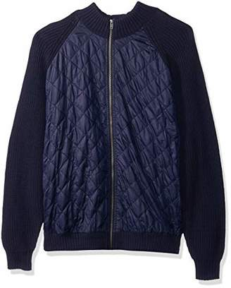 Cutter & Buck Men's Navy Walter Full Zip Quilted Sweater Jacket with Pockets