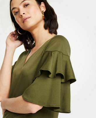 Ann Taylor Petite Tiered Ruffle Sleeve Top