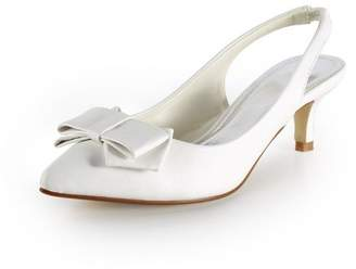 Minishion TH12103 Womens 2 Inches Heel PU Leather Casual Evening Parting Bridal Wedding Dress Backstrap Pumps