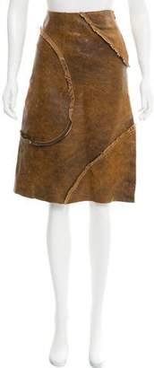 Just Cavalli Leather Knee-Length Skirt