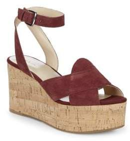 Nine West Kierredy Suede Ankle-Strap Wedges