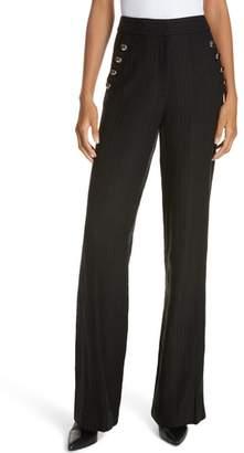 Veronica Beard Tuli Check Button Detail Pants