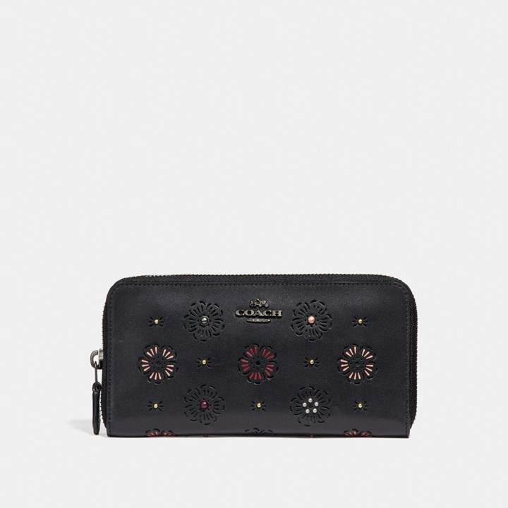 Coach New YorkCoach Accordion Zip Wallet With Cut Out Tea Rose - BLACK/DARK GUNMETAL - STYLE