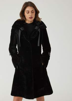 Emporio Armani Lambskin Coat With Astrakhan Fur And Ribbons At The Collar
