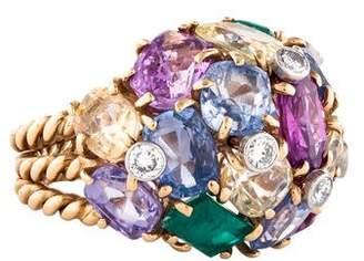 Ring 14K Multi-Color Sapphire, Emerald & Diamond