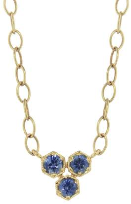 Cathy Waterman Blue Sapphire Triple Hex Necklace - Yellow Gold