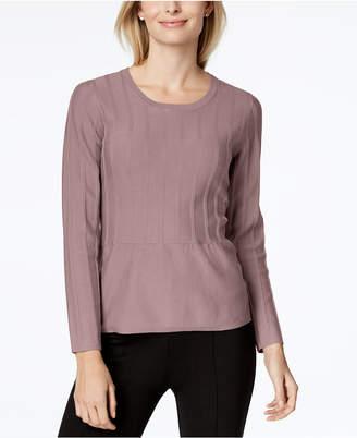 NY Collection Petite Textured-Stripe Peplum Sweater