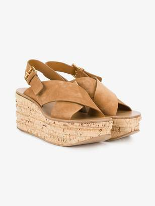 Chloé Tan Camille 80 Leather Wedges