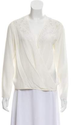 The Kooples Embroidered Silk Top