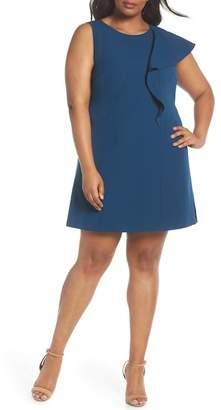 Vince Camuto Ruffle Crepe A-Line Dress (Plus Size)