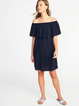 Old Navy Off-the-Shoulder Linen-Blend Shift Dress for Women