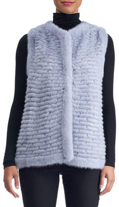 Gorski Layered Mink Vest with Leather Inserts