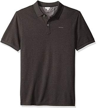 Calvin Klein Men's Short Sleeve Two Tone Pique Oxford Polo Shirt