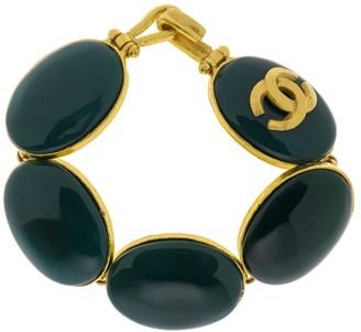 Gold Tone and Green Stone Vintage CC Logo Bracelet