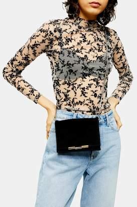 Topshop IDOL LUXE Black Suede Cross Body Bag