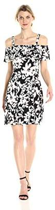 London Times Women's Off The Shoulder Jersey Fit and Flare Dress